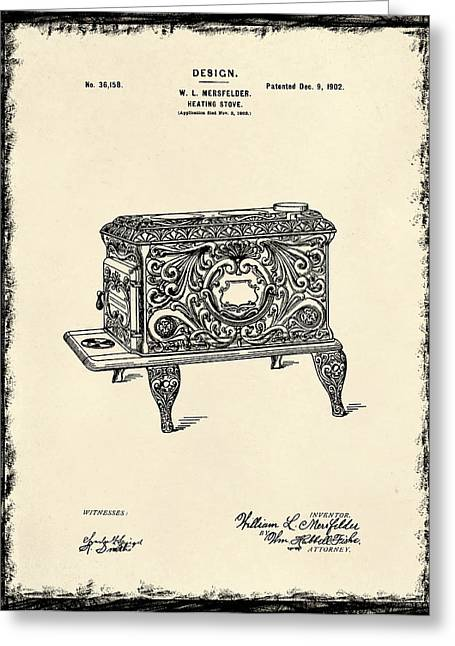 Stove Greeting Cards - Stove Patent 1902 Greeting Card by Mark Rogan