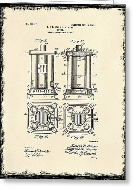 Stove Greeting Cards - Stove Patent From 1907 Greeting Card by Mark Rogan