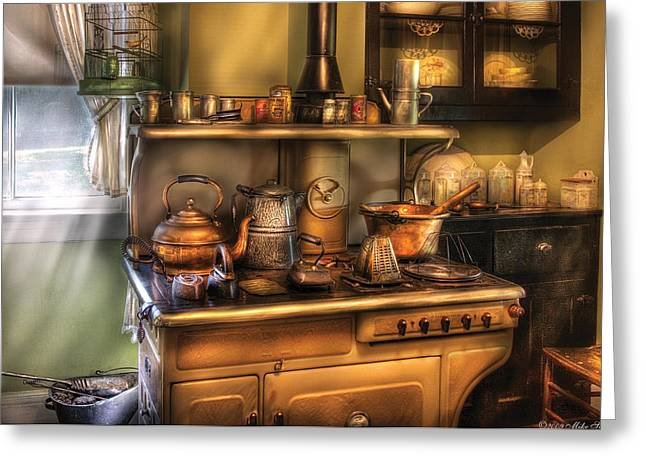 Cluttered Greeting Cards - Stove - Whats for dinner Greeting Card by Mike Savad