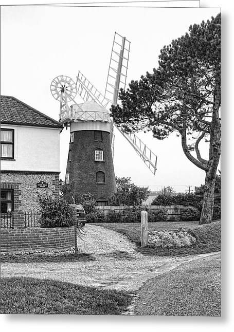 Generators Greeting Cards - Stow Mill in Black and White Greeting Card by Phyllis Taylor