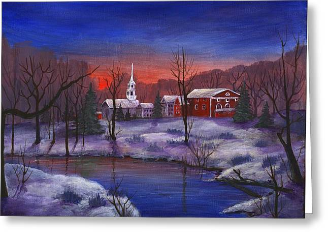 Vermont Village Greeting Cards - Stowe - Vermont Greeting Card by Anastasiya Malakhova