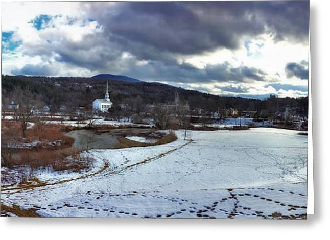 New England Snow Scene Greeting Cards - Stowe Vermont Winter Scene Panoramic Greeting Card by Joann Vitali