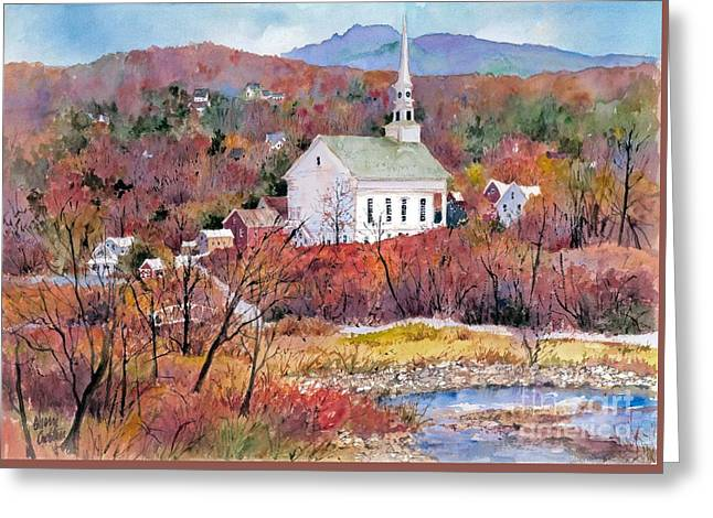 Recently Sold -  - New England Village Greeting Cards - Stowe village Greeting Card by Sherri Crabtree