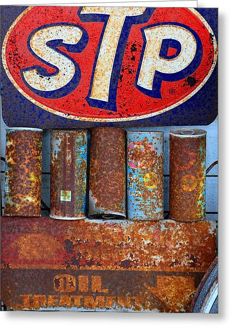 Stp Greeting Cards - STP oil treatment sign Greeting Card by David Lee Thompson