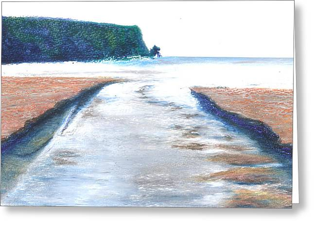 Ireland Pastels Greeting Cards - Straddling The Silver Strand Greeting Card by Jim Ditto