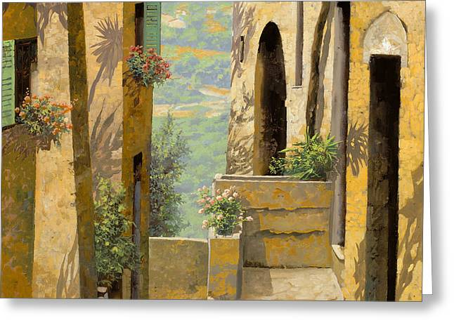 Yellowscape Greeting Cards - stradina a St Paul de Vence Greeting Card by Guido Borelli