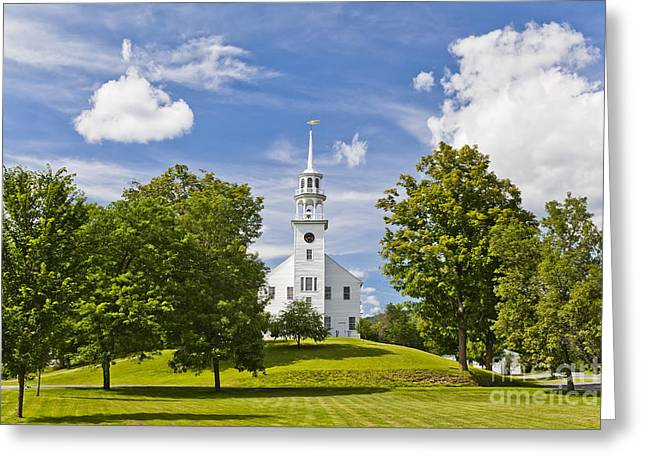 Weathervane Greeting Cards - Strafford Vermont Town House Greeting Card by Alan L Graham