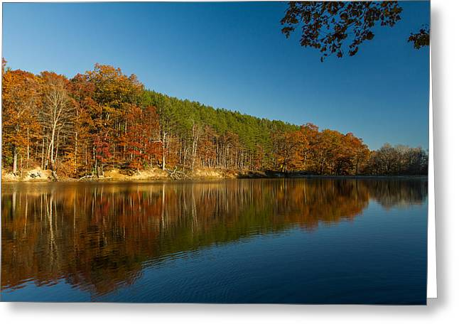 Indiana Autumn Greeting Cards - Strahl Lake - Brown County State Park Greeting Card by Ron Pate