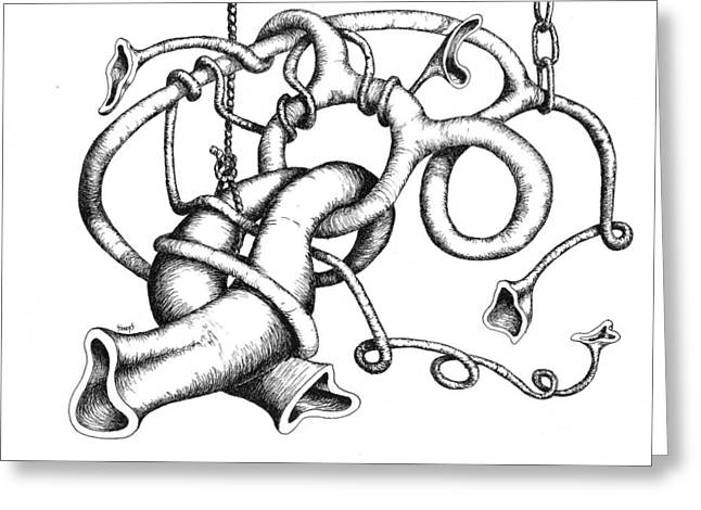 Rope Drawings Greeting Cards - Straight Ahead and to the Left Greeting Card by Sam Sidders