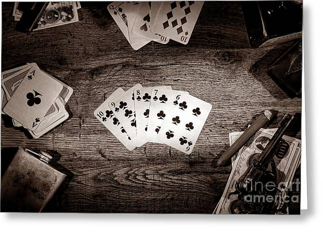 Playing Cards Greeting Cards - Straight Flush Greeting Card by American West Legend By Olivier Le Queinec