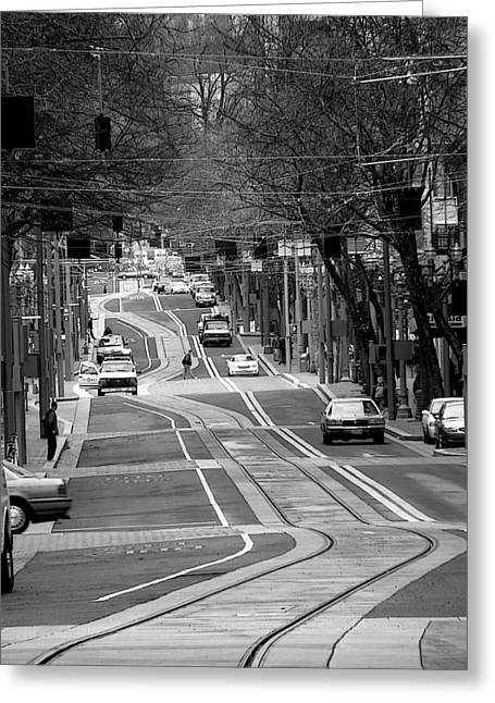 Tram Photographs Greeting Cards - Straight Lines Greeting Card by David Bearden