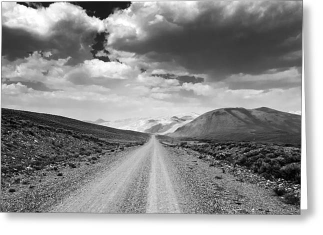 Rebecca Greeting Cards - Straight Road to the Mountains Greeting Card by Eric Benjamin