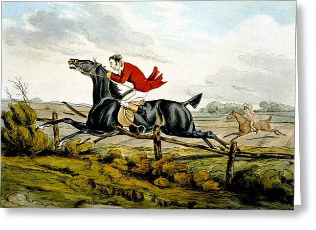 Out Of Control Greeting Cards - Straight Through the Fence from Qualified Horses and Unqualified Riders Greeting Card by Henry Thomas Alken
