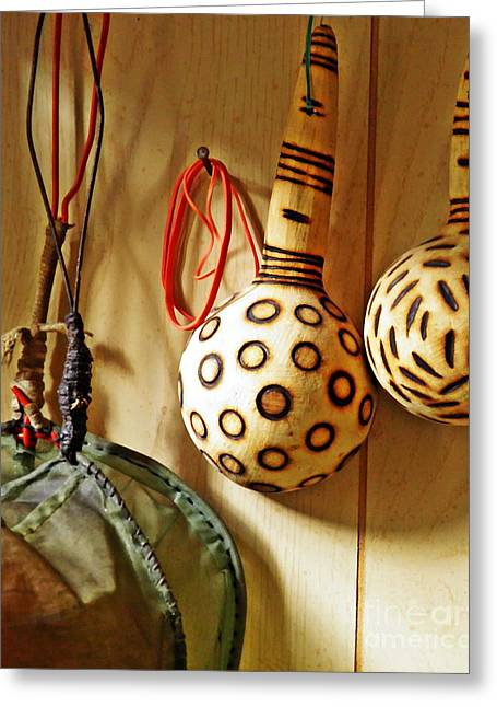 Strainer Greeting Cards - Strainer and Ladles Greeting Card by Sarah Loft