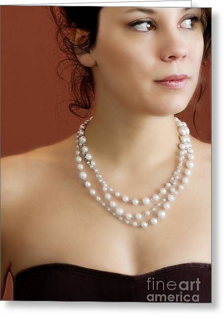 Strapless Dress Greeting Cards - Strand of Pearls Greeting Card by Margie Hurwich