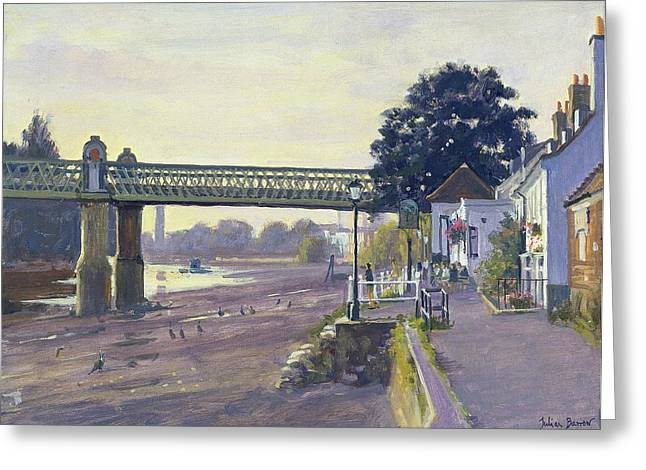 Embankment Greeting Cards - Strand On The Green Oil On Canvas Greeting Card by Julian Barrow