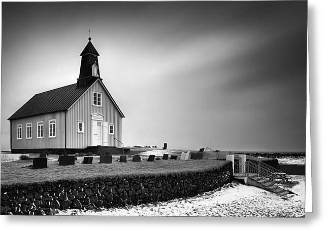 Icelandic Greeting Cards - Strandarkirkja Greeting Card by Dave Bowman