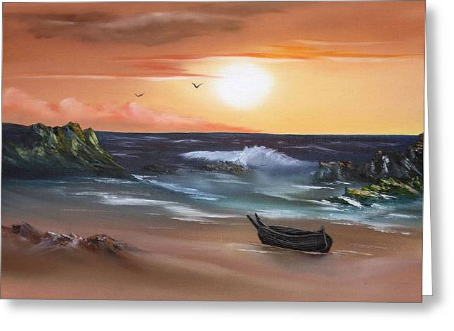 Canoe Greeting Cards - Stranded at Sunset Greeting Card by Cynthia Adams