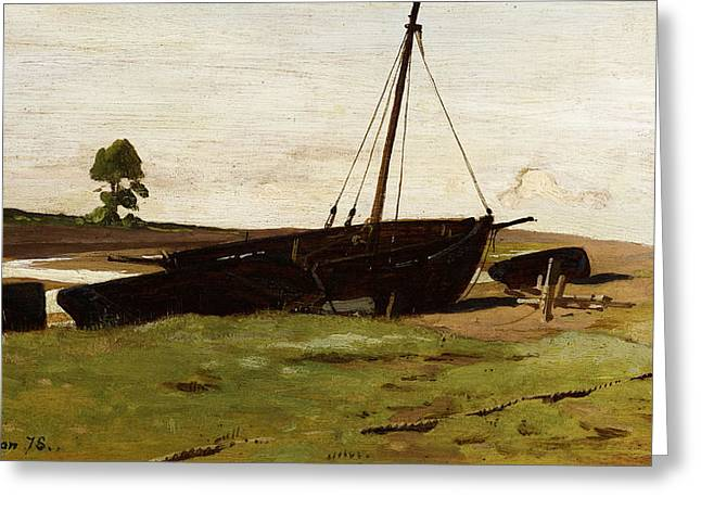 Weired Greeting Cards - Stranded Boats Porlock Weir Greeting Card by Frederick George Cotman