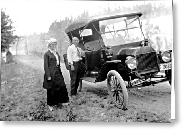 Ford Model T Car Greeting Cards - Stranded Travelers Near Olympia Washington c 1915 to 20 Vintage Greeting Card by A Gurmankin