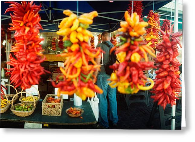 Chili Peppers Greeting Cards - Strands Of Chili Peppers Hanging Greeting Card by Panoramic Images