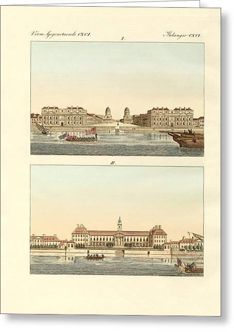 Architektur Drawings Greeting Cards - Strange buildings in England Greeting Card by Splendid Art Prints