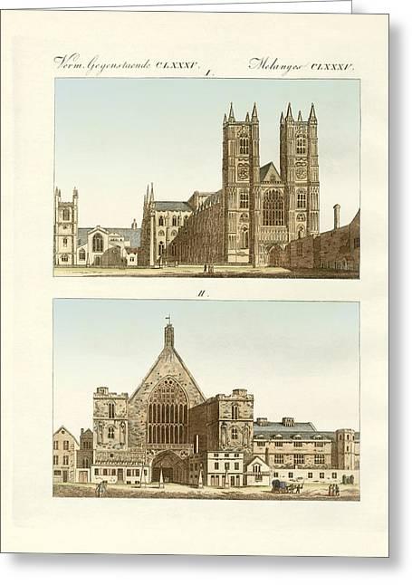 Architektur Drawings Greeting Cards - Strange buildings in London Greeting Card by Splendid Art Prints
