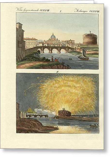 Architektur Drawings Greeting Cards - Strange buildings in Rome Greeting Card by Splendid Art Prints