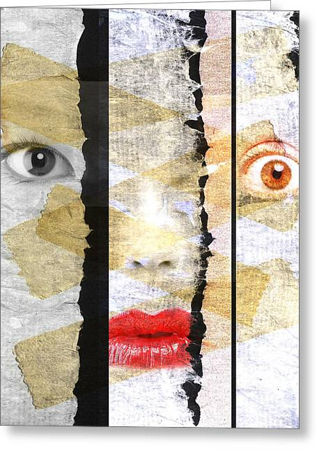 Female Faces Greeting Cards - Strange Faces Greeting Card by David Ridley