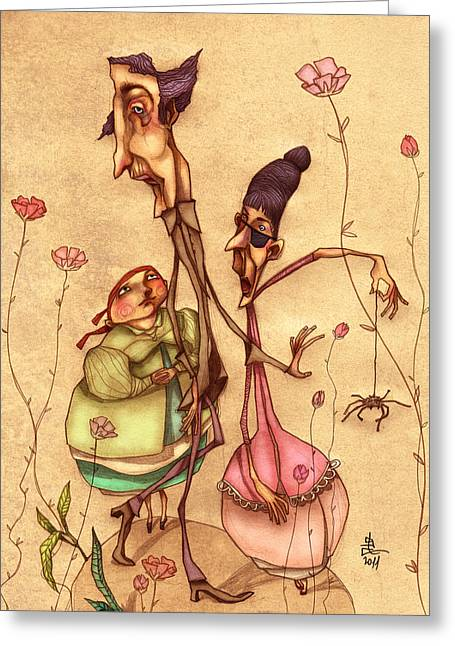 Funny Drawings Greeting Cards - Strange Family Greeting Card by Autogiro Illustration