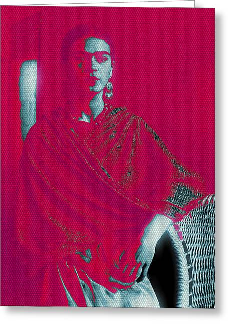 Michelle Mixed Media Greeting Cards - Strange Frida Greeting Card by Michelle Dallocchio