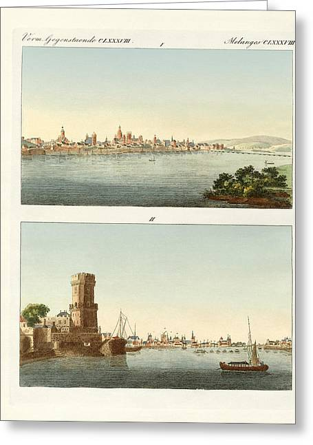 Strange Towns On The Rhine Greeting Card by Splendid Art Prints
