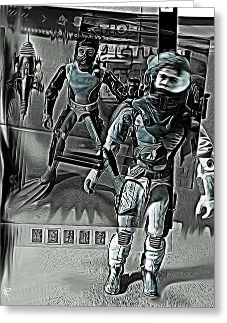 Astronauts Mixed Media Greeting Cards - Stranger in a strange land Greeting Card by Russell Pierce