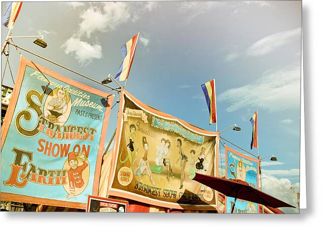 Freak Show Greeting Cards - Strangest Show on Earth Greeting Card by Colleen Kammerer