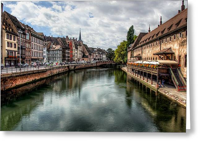 Canal Street Line Greeting Cards - Strasbourg View Greeting Card by Len Saltiel