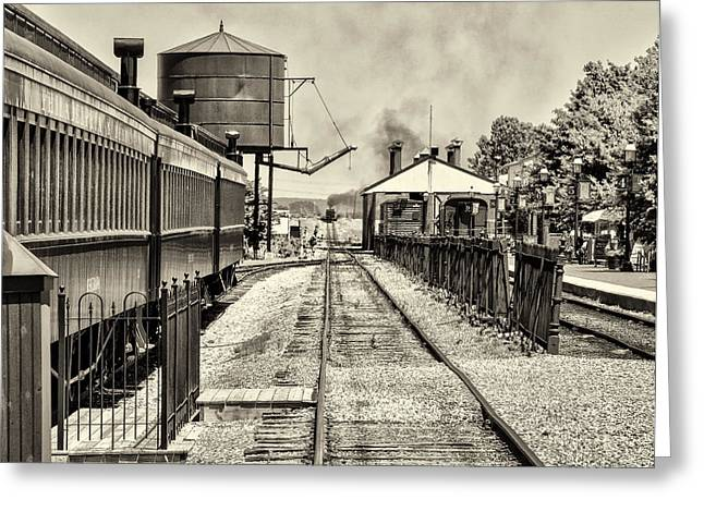 Strasburg Greeting Cards - Strasburg Railroad in Sepia - Lancaster County Greeting Card by Bill Cannon