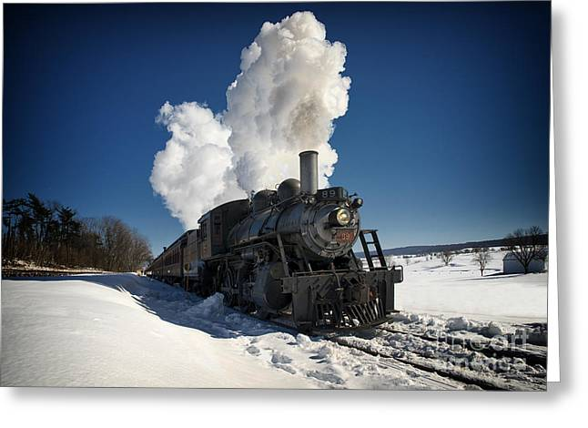 Photography Greeting Cards - Strasburg Train and Snow Greeting Card by Kelly Heaton