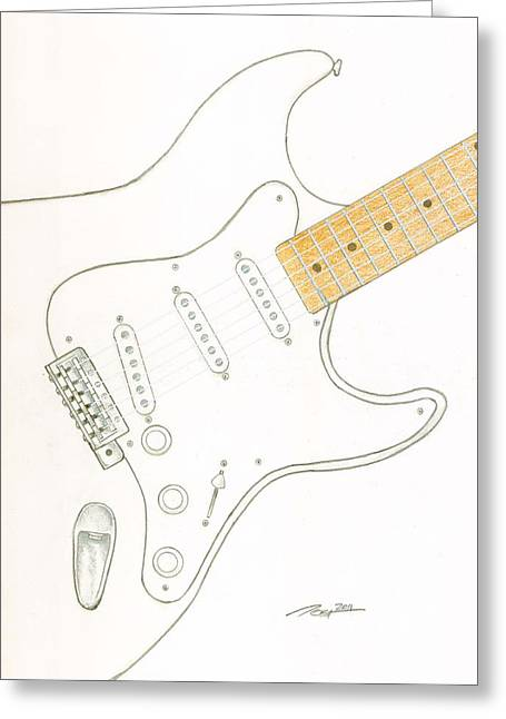 Fender Strat Drawings Greeting Cards - Strat Greeting Card by Rick Yost