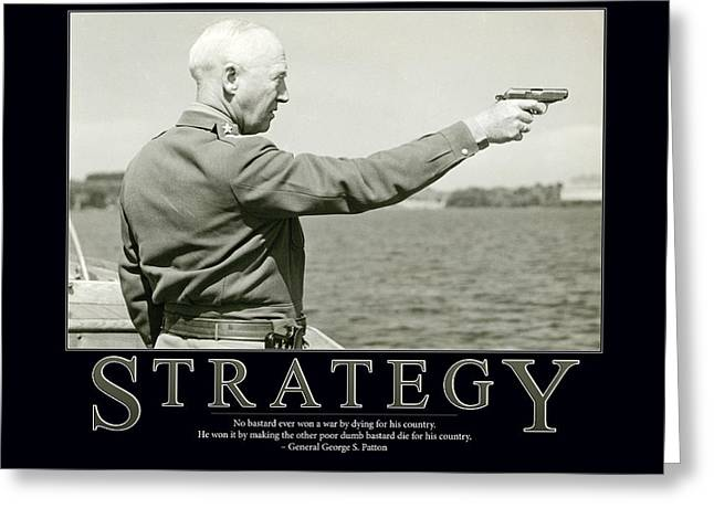 Solider Greeting Cards - Strategy General George S. Patton Greeting Card by Retro Images Archive