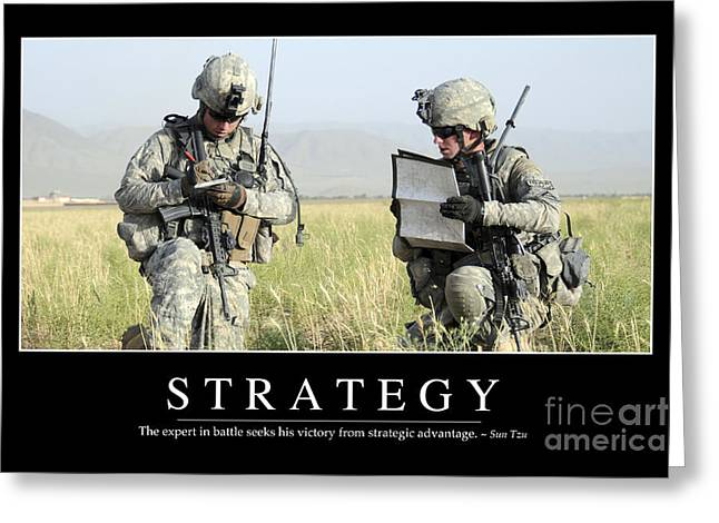 Zabul Greeting Cards - Strategy Inspirational Quote Greeting Card by Stocktrek Images