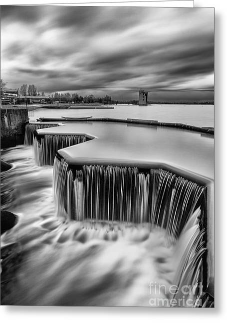 Scottish Loch Greeting Cards - Strathclyde Park Weir Greeting Card by John Farnan