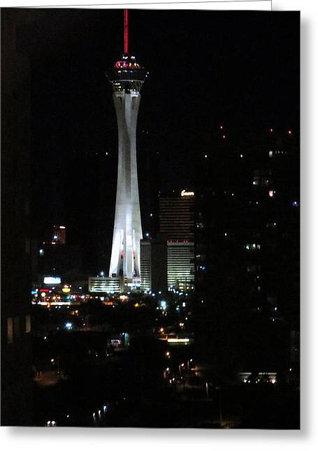 The Western Hotel Greeting Cards - Stratosphere Tower Las Vegas Greeting Card by Kay Novy