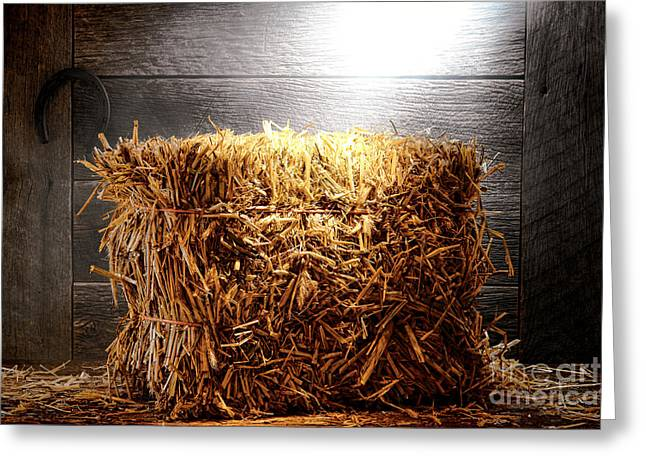 Bales Greeting Cards - Straw Bale in Old Barn Greeting Card by Olivier Le Queinec