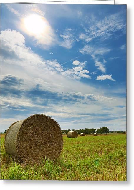 Himmel Greeting Cards - Straw bales Greeting Card by Falko Follert