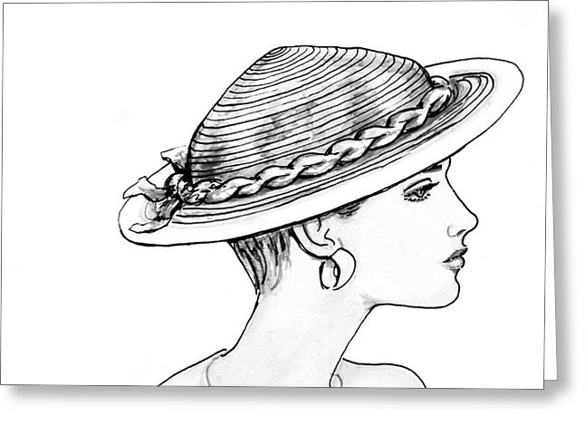Residential Drawings Greeting Cards - Straw Hat Greeting Card by Sarah Parks