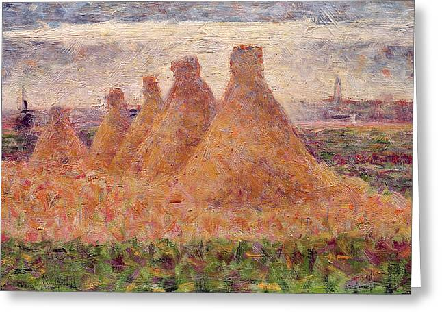 Stacks Greeting Cards - Straw Stacks Greeting Card by Georges Pierre Seurat