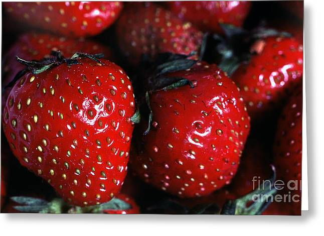 Transparency Geometric Greeting Cards - Strawberries 1 Greeting Card by Rich Killion