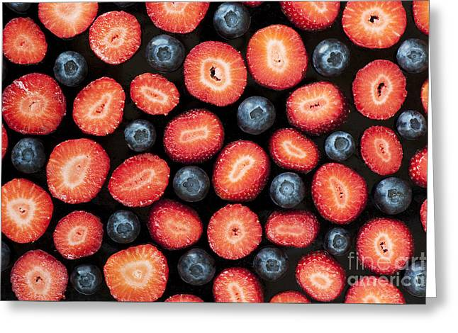 Strawberries And Blueberries Greeting Card by Tim Gainey