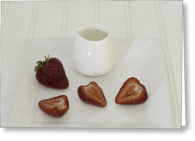 Affordable Kitchen Art Greeting Cards - Strawberries and Cream Greeting Card by Kim Hojnacki