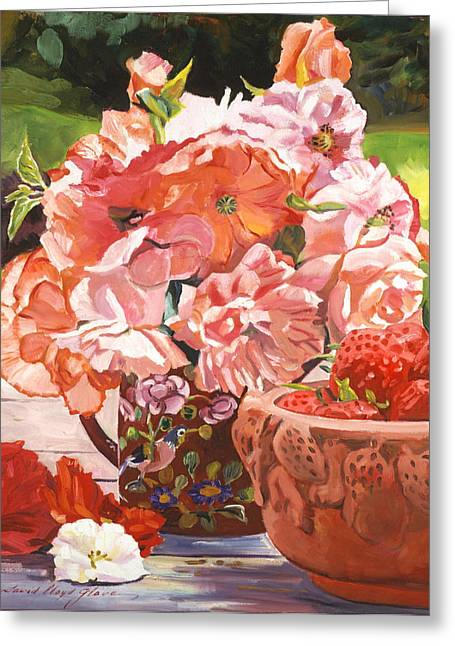 Best Flower Images Greeting Cards - Strawberries And Flowers Greeting Card by David Lloyd Glover